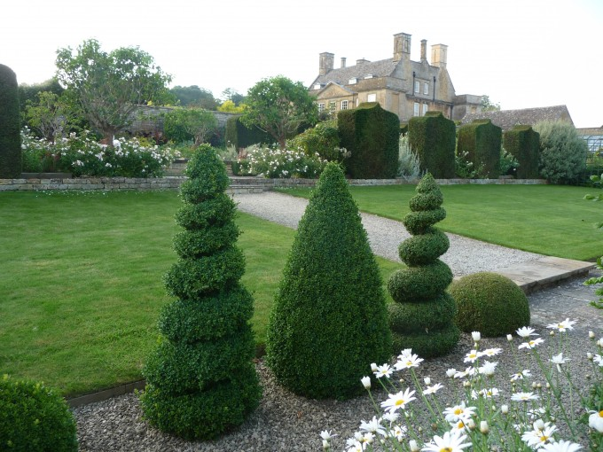 Bourton House Garden Topiary Walk towards White Garden